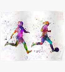Girls playing soccer football player silhouette Poster