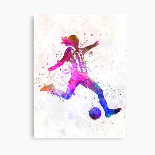 Girl playing soccer football player silhouette Canvas Print
