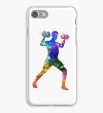 Man exercising weight training iPhone Case/Skin