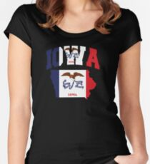 Iowa Flag in Iowa Map Women's Fitted Scoop T-Shirt