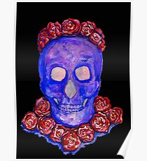 Skull and Roses (large, untiled design) Poster
