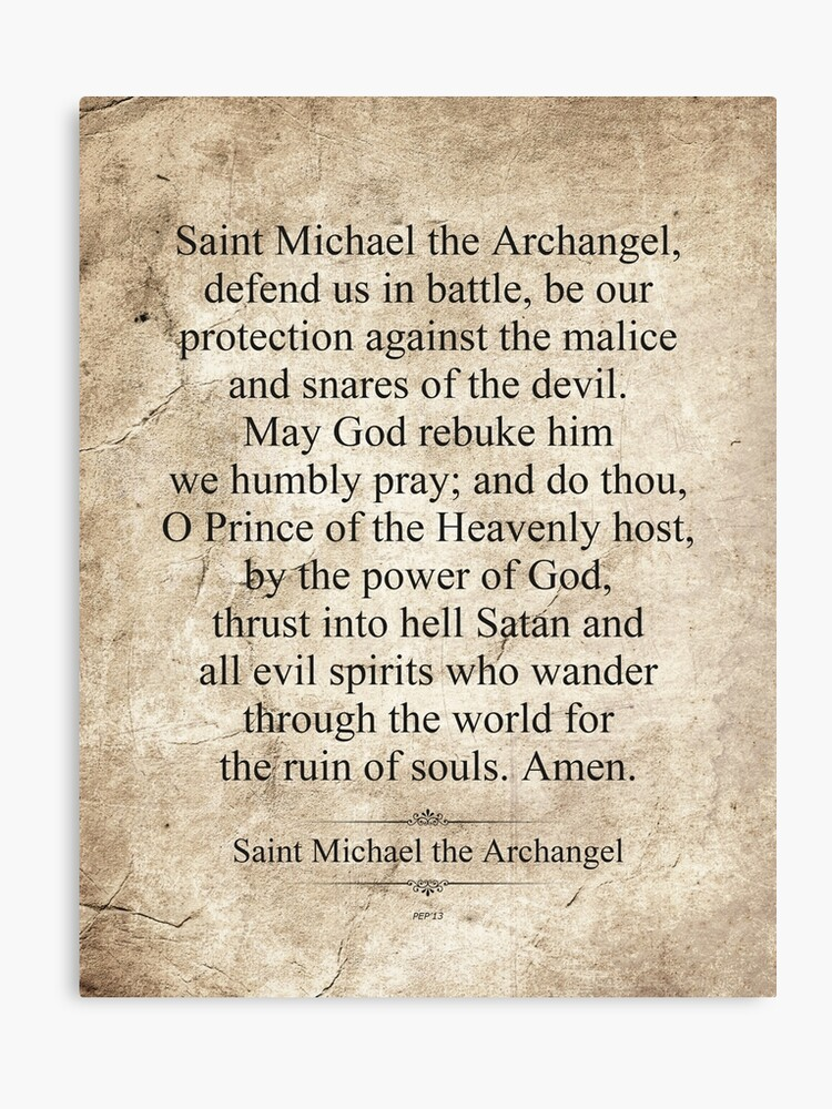image relating to St. Michael the Archangel Prayer Printable identified as Saint Michael the Archangel Canvas Print