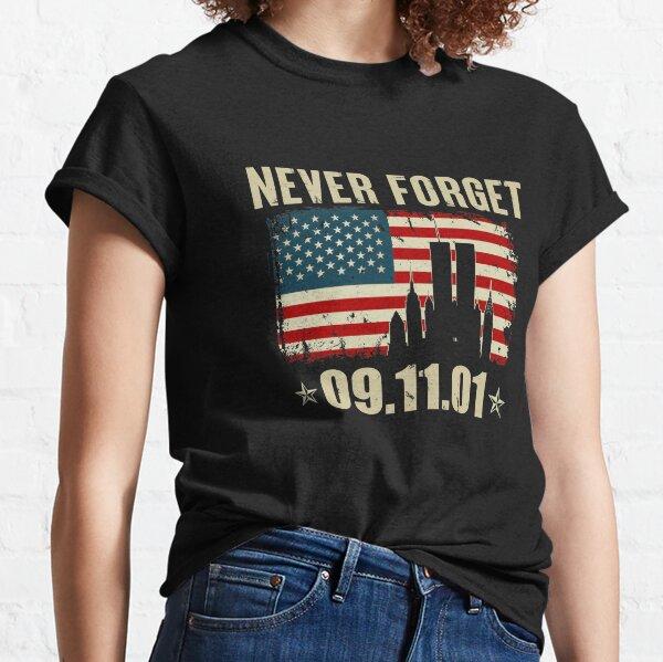 Never Forget 911 American USA Flag Patriotic Memorial Classic T-Shirt