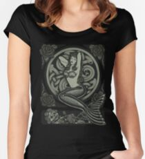 Vintage Classic Pinup Mermaid Women's Fitted Scoop T-Shirt