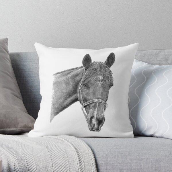 Hinley the Thoroughbred Version 2 (White Background) Throw Pillow
