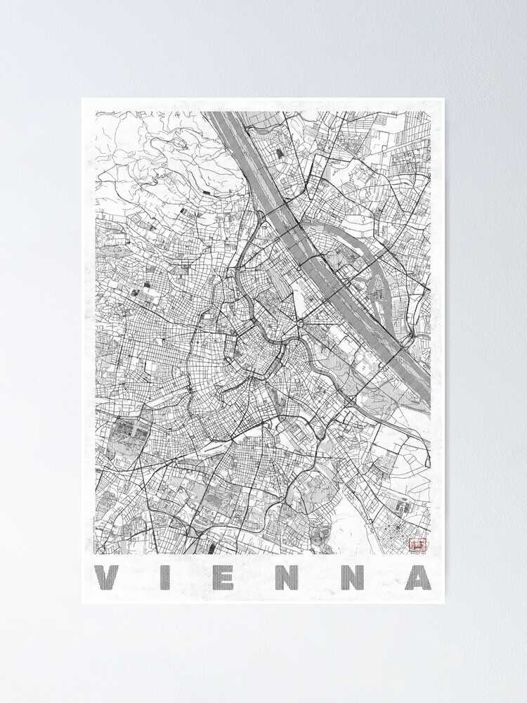 Alternate view of Vienna Map Line Poster