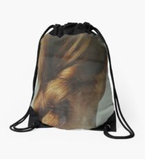the beautiful lady with the braid Drawstring Bag