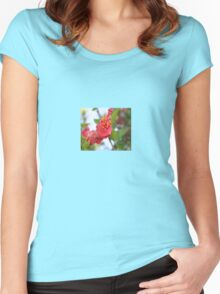 Curled Petals of A Red Hibiscus Bud Women's Fitted Scoop T-Shirt