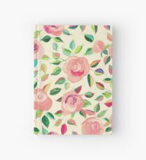Pastel Roses in Blush Pink and Cream Hardcover Journal