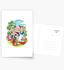 Vintage Dutch Girls & Boys Retro Holland Windmill Illustration Postcards