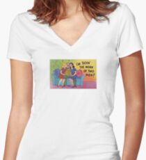 Funny Vintage Postcard Risque Comic Illustration Retro Women's Fitted V-Neck T-Shirt
