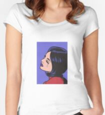 Black Hair Crying Comic Girl Women's Fitted Scoop T-Shirt