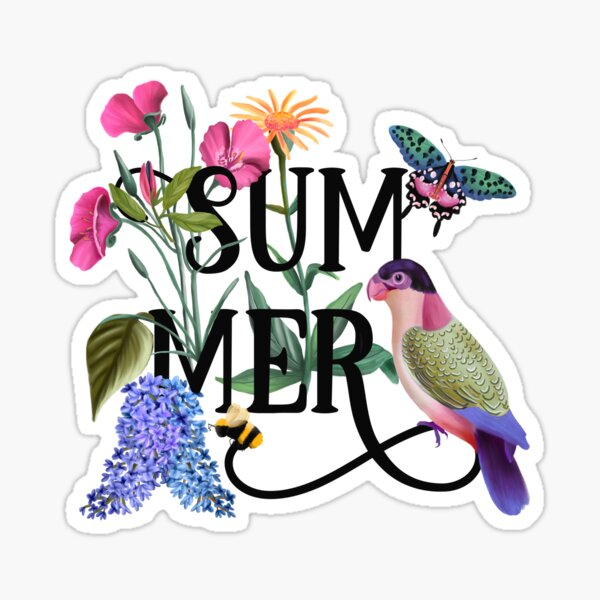 Botanical Summer Hand Lettered Illustration with Bird & Butterfly Sticker