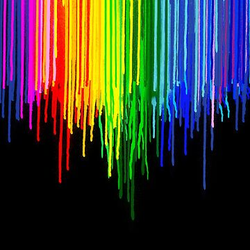Rainbow Paint Drops on Black by homedeco