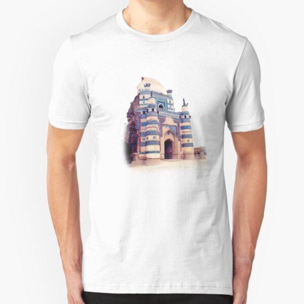 Dome of bibi Jiwandi (Uch Sharief) Painting Slim Fit T-Shirt