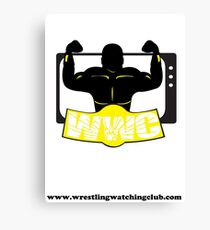 Wrestling Watching Club Clean Logo with Website Canvas Print