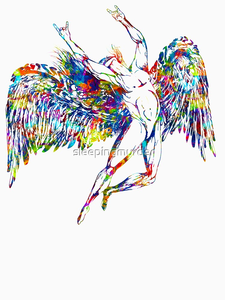 ICARUS THROWS THE HORNS - paint splotches  *awesome UNLISTED designs in my portfolio* by sleepingmurder