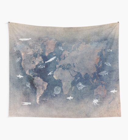 world map 1 sealife  Wall Tapestry