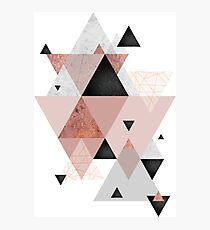 Geometric Compilation in Rose Gold and Blush Photographic Print