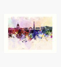 Washington DC skyline in watercolor background  Art Print