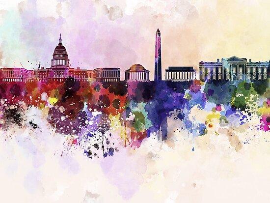Washington DC-Skyline im Aquarellhintergrund von paulrommer