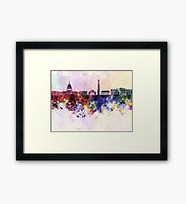 Washington DC skyline in watercolor background  Framed Print