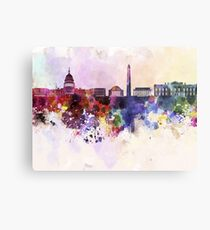 Washington DC skyline in watercolor background  Metal Print