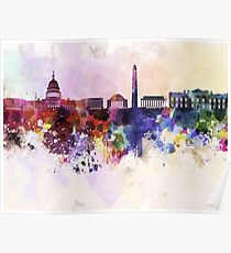 Washington DC-Skyline im Aquarellhintergrund Poster