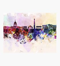 Washington DC skyline in watercolor background  Photographic Print