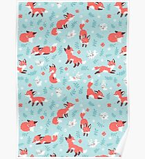 Fox and Bunny Pattern Poster