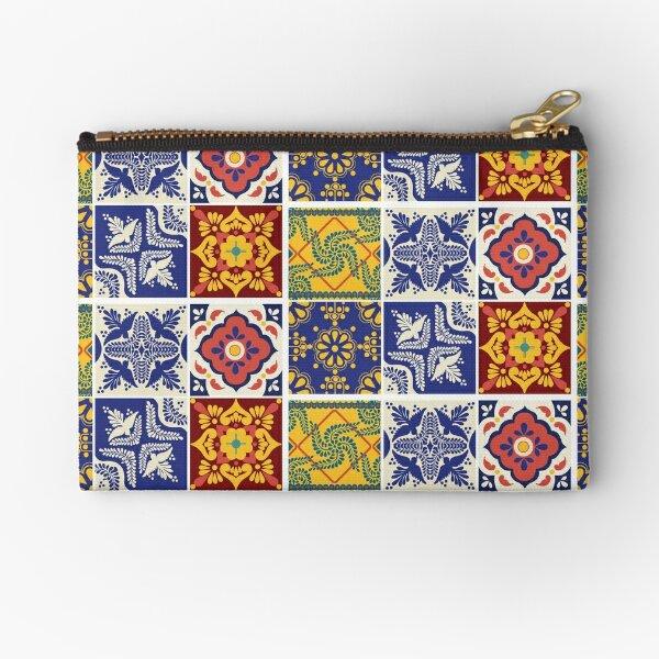 TALAVERA TILES - Vintage Talavera Pattern Mexican Spanish Talavera Tile Pattern HD Print Zipper Pouch