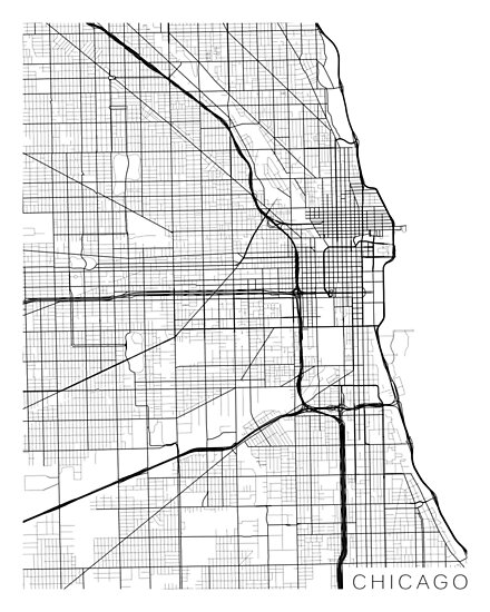 Chicago Map, USA - Black and White\