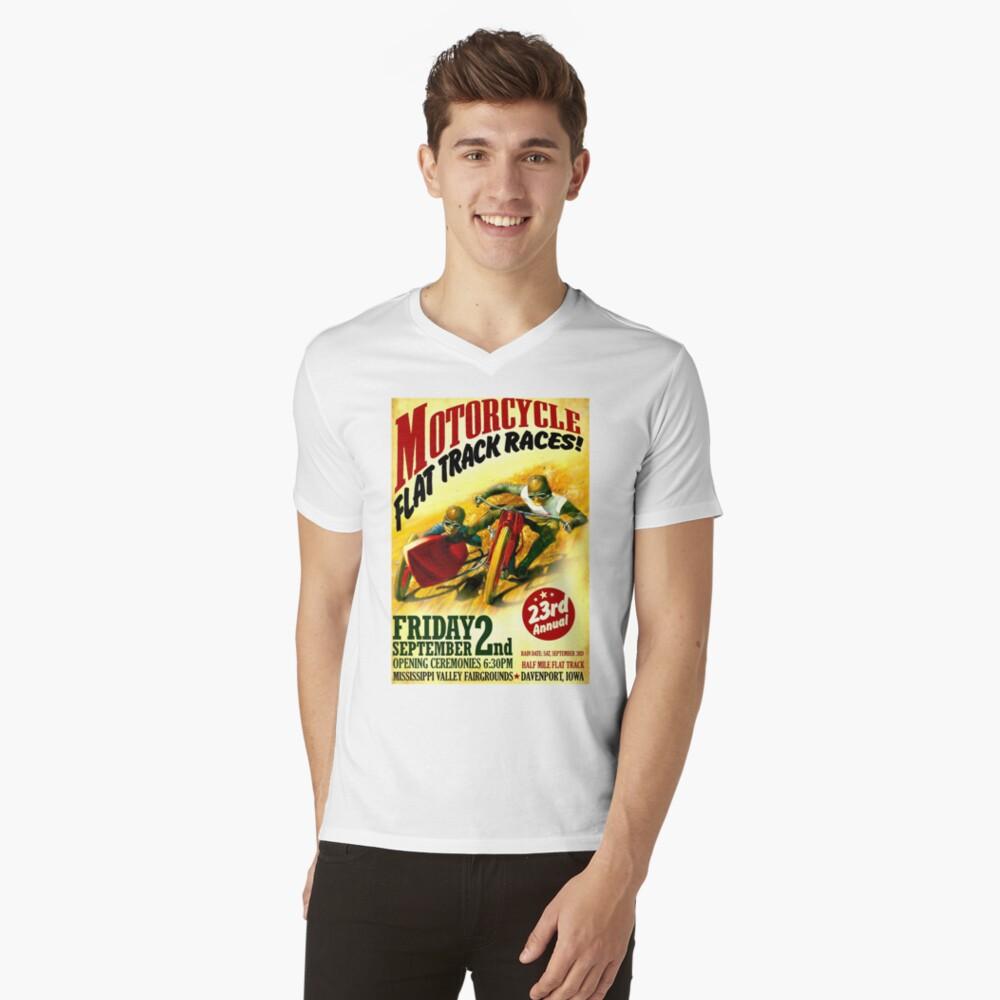 """MOTORCYCLE FLACHSTRECKE"" Vintage Racing Print T-Shirt mit V-Ausschnitt"