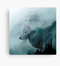 Wilderness Wolf and Poem Canvas Print