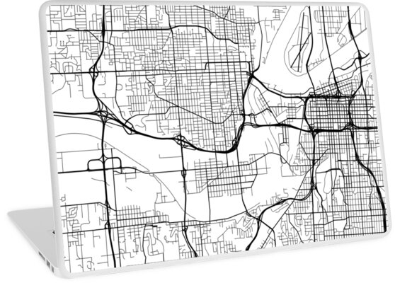 Kansas City Map, USA - Black and White\