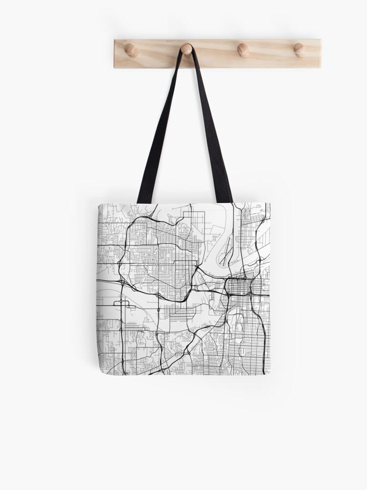 Kansas City Map, USA - Black and White | Tote Bag
