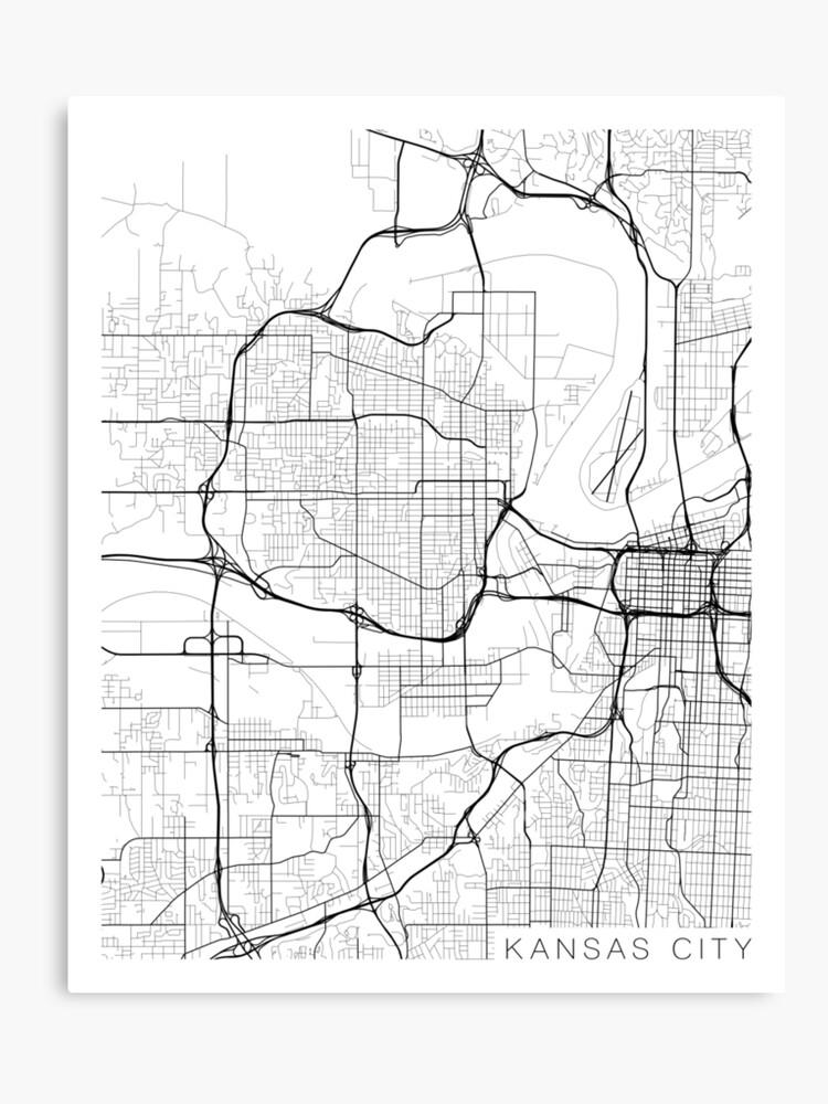 Kansas City Map, USA - Black and White | Canvas Print