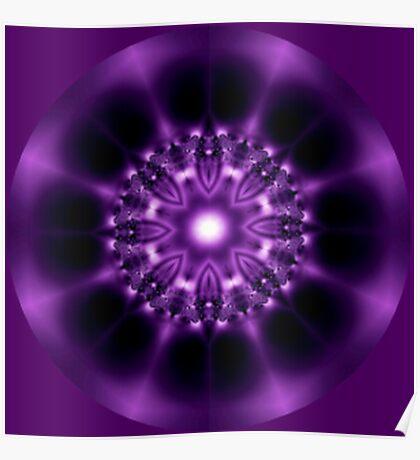 Center Light Purple Satin Mandala Poster