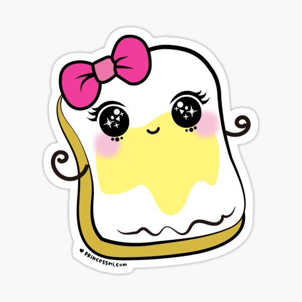 bread and butter cartoon, cute kawaii illustration Sticker