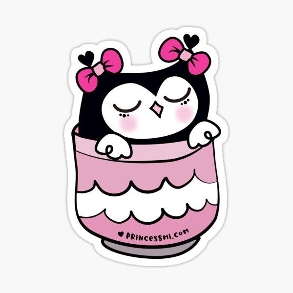 cute kawaii owl in the cup Sticker