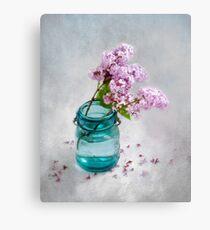 Lilacs in a Green Glass Jar Canvas Print