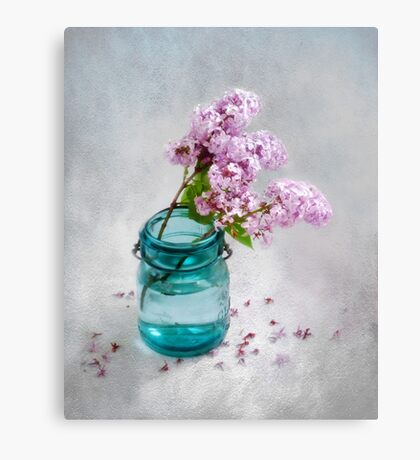 Lilacs in a Green Glass Jar Canvas Print