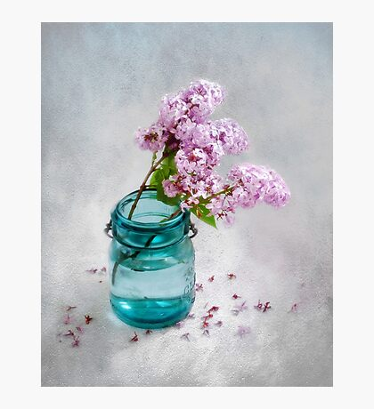 Lilacs in a Green Glass Jar Photographic Print