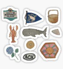 Weinlese-Nantucket-Insel-Sammlung handgemaltes Aquarell Sticker