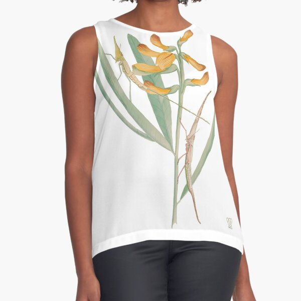 Insects on Orange-Flowered Plant Sleeveless Top
