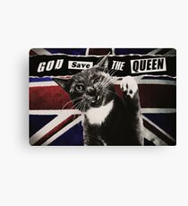 God Save The Queen Cat Canvas Print