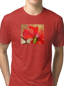 Back Of A Red Hibiscus Flower Against Stone Tri-blend T-Shirt