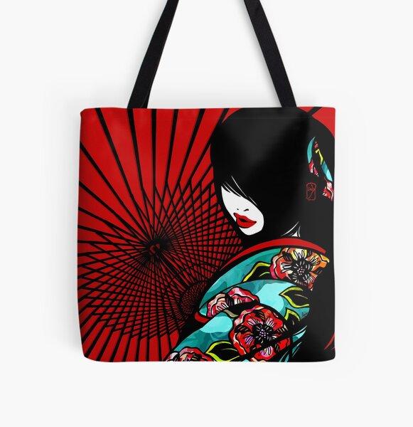 Bangasa and Peony - asian beauty, traditional Japanese umbrellas, flower kimono girl All Over Print Tote Bag