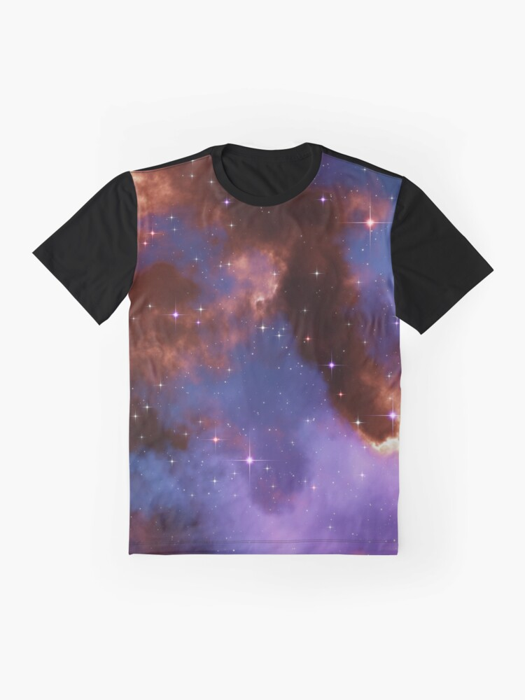 Alternate view of Fantasy nebula cosmos sky in space with stars (Red/Blue/Purple) Graphic T-Shirt