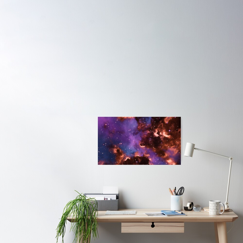 Fantasy nebula cosmos sky in space with stars (Red/Purple/Blue) Poster